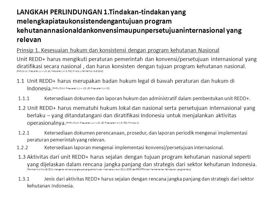LANGKAH PERLINDUNGAN 1.Tindakan-tindakan yang melengkapiataukonsistendengantujuan program kehutanannasionaldankonvensimaupunpersetujuaninternasional y