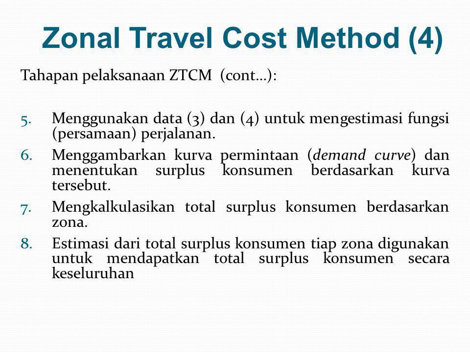 Zonal Travel Cost Method (4) Tahapan pelaksanaan ZTCM (cont…): 5.Menggunakan data (3) dan (4) untuk mengestimasi fungsi (persamaan) perjalanan. 6.Meng