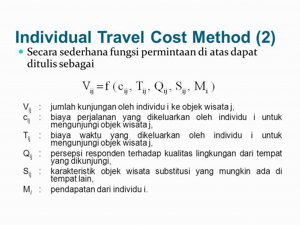 Individual Travel Cost Method (2)  Secara sederhana fungsi permintaan di atas dapat ditulis sebagai V ij :jumlah kunjungan oleh individu i ke objek w