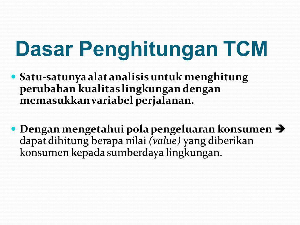 Dasar Penghitungan TCM  Satu-satunya alat analisis untuk menghitung perubahan kualitas lingkungan dengan memasukkan variabel perjalanan.  Dengan men