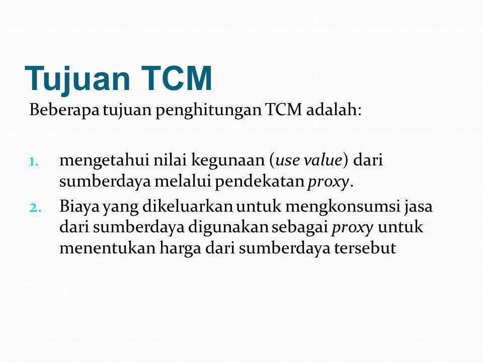 Tujuan TCM Beberapa tujuan penghitungan TCM adalah: 1.mengetahui nilai kegunaan (use value) dari sumberdaya melalui pendekatan proxy. 2.Biaya yang dik
