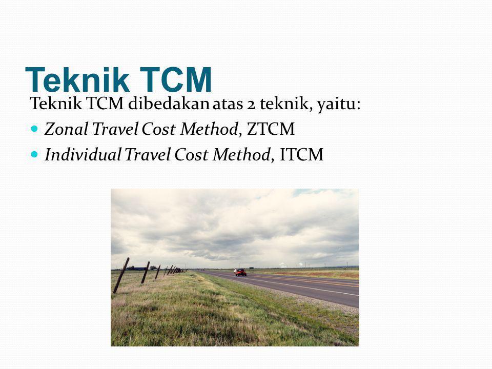 Teknik TCM Teknik TCM dibedakan atas 2 teknik, yaitu:  Zonal Travel Cost Method, ZTCM  Individual Travel Cost Method, ITCM