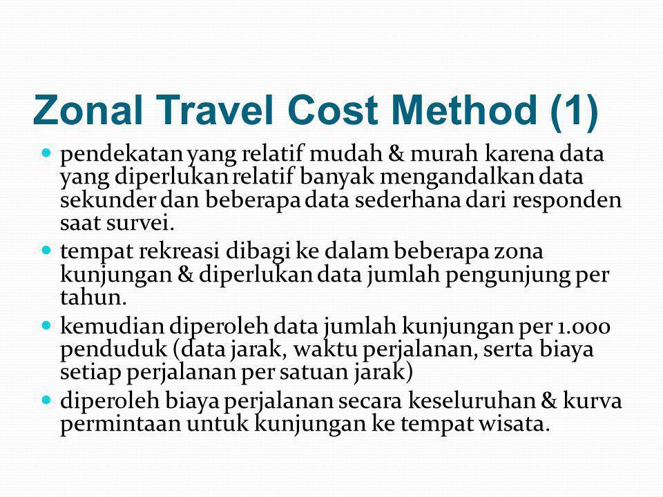 Zonal Travel Cost Method (1)  pendekatan yang relatif mudah & murah karena data yang diperlukan relatif banyak mengandalkan data sekunder dan beberap
