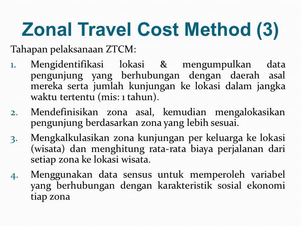 Zonal Travel Cost Method (3) Tahapan pelaksanaan ZTCM: 1.Mengidentifikasi lokasi & mengumpulkan data pengunjung yang berhubungan dengan daerah asal me