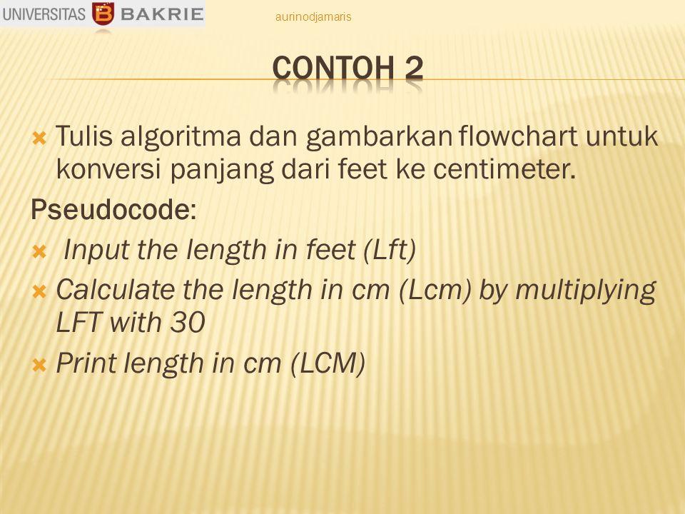  Tulis algoritma dan gambarkan flowchart untuk konversi panjang dari feet ke centimeter. Pseudocode:  Input the length in feet (Lft)  Calculate the