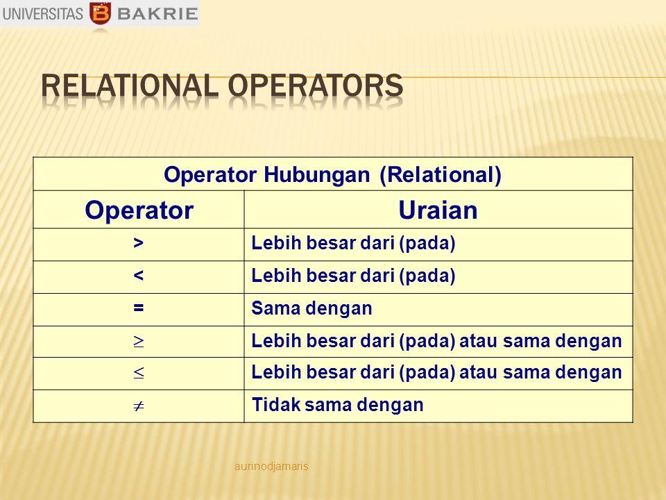 Operator Hubungan (Relational) OperatorUraian >Lebih besar dari (pada) < =Sama dengan  Lebih besar dari (pada) atau sama dengan   Tidak sama dengan aurinodjamaris