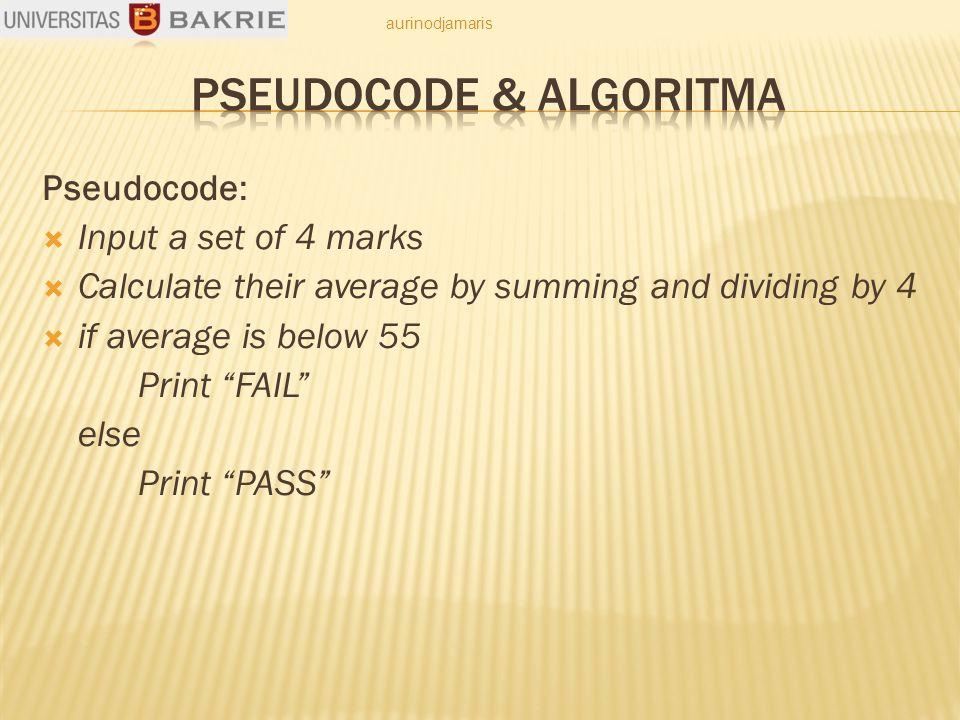 Pseudocode:  Masukkan Koefisien (a, b, c) dari persamaan kuadrat  Hitung d  Hitung x1  Hitung x2  Cetak x1 dan x2 aurinodjamaris