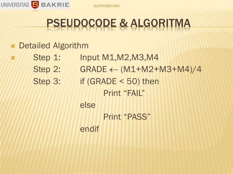  Detailed Algorithm  Step 1: Input M1,M2,M3,M4 Step 2: GRADE  (M1+M2+M3+M4)/4 Step 3: if (GRADE < 50) then Print FAIL else Print PASS endif aurinodjamaris