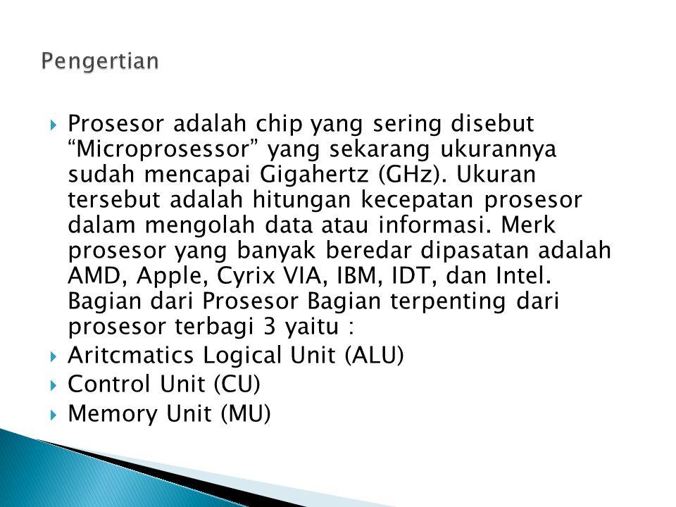  Prosesor adalah chip yang sering disebut Microprosessor yang sekarang ukurannya sudah mencapai Gigahertz (GHz).
