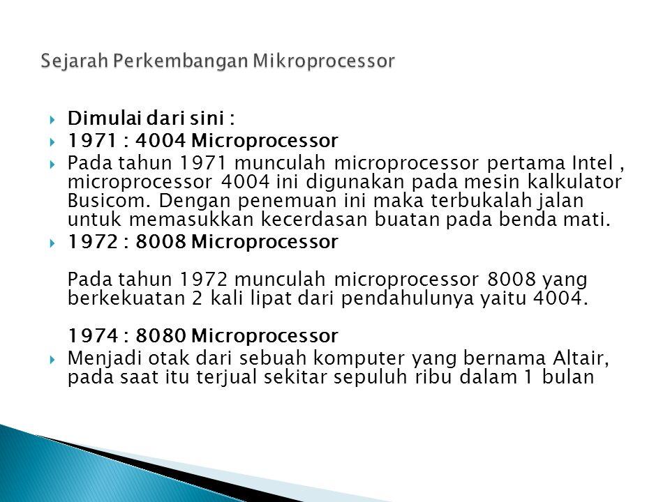  Dimulai dari sini :  1971 : 4004 Microprocessor  Pada tahun 1971 munculah microprocessor pertama Intel, microprocessor 4004 ini digunakan pada mesin kalkulator Busicom.