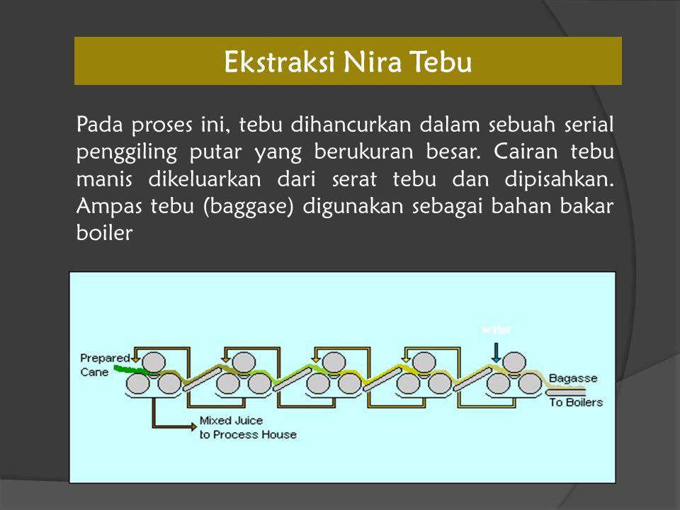 Ekstraksi Nira Tebu Pada proses ini, tebu dihancurkan dalam sebuah serial penggiling putar yang berukuran besar. Cairan tebu manis dikeluarkan dari se