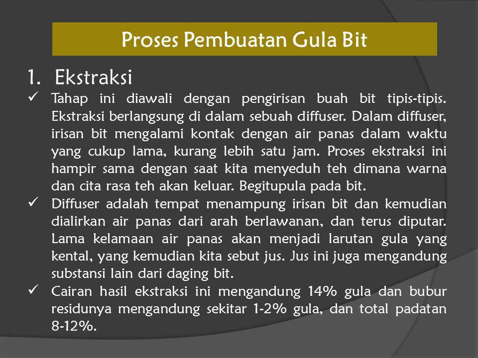 Proses Pembuatan Gula Bit 1.Ekstraksi  Tahap ini diawali dengan pengirisan buah bit tipis-tipis. Ekstraksi berlangsung di dalam sebuah diffuser. Dala