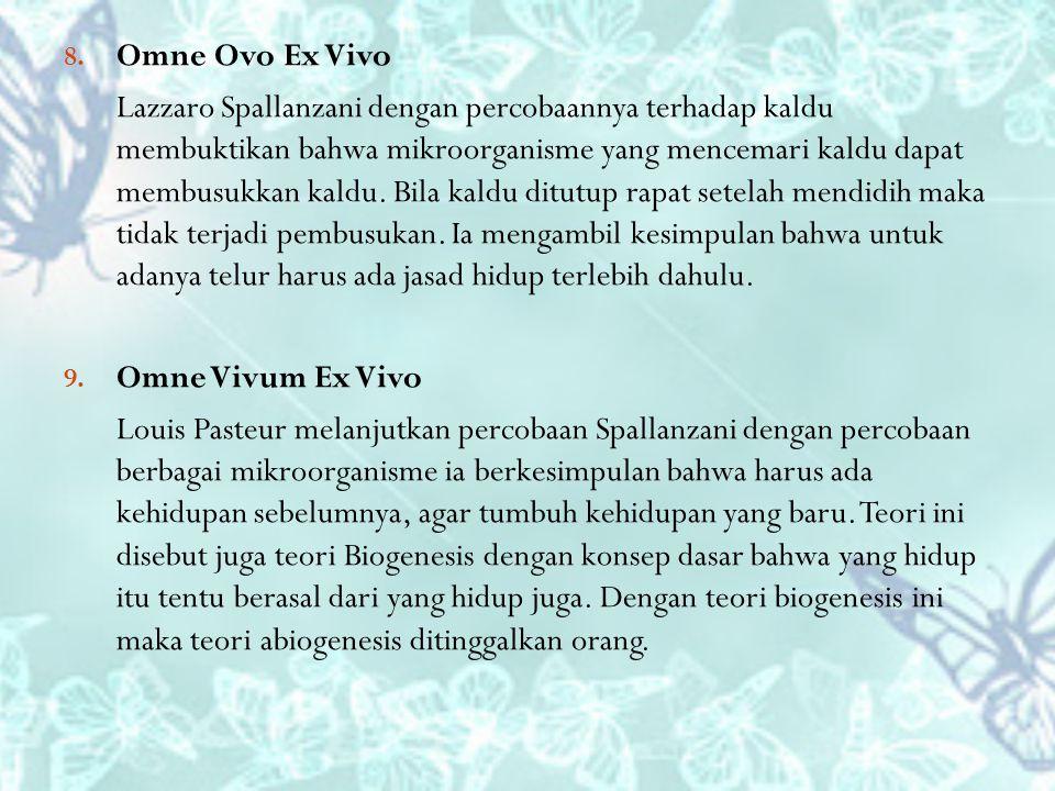 8. Omne Ovo Ex Vivo Lazzaro Spallanzani dengan percobaannya terhadap kaldu membuktikan bahwa mikroorganisme yang mencemari kaldu dapat membusukkan kal