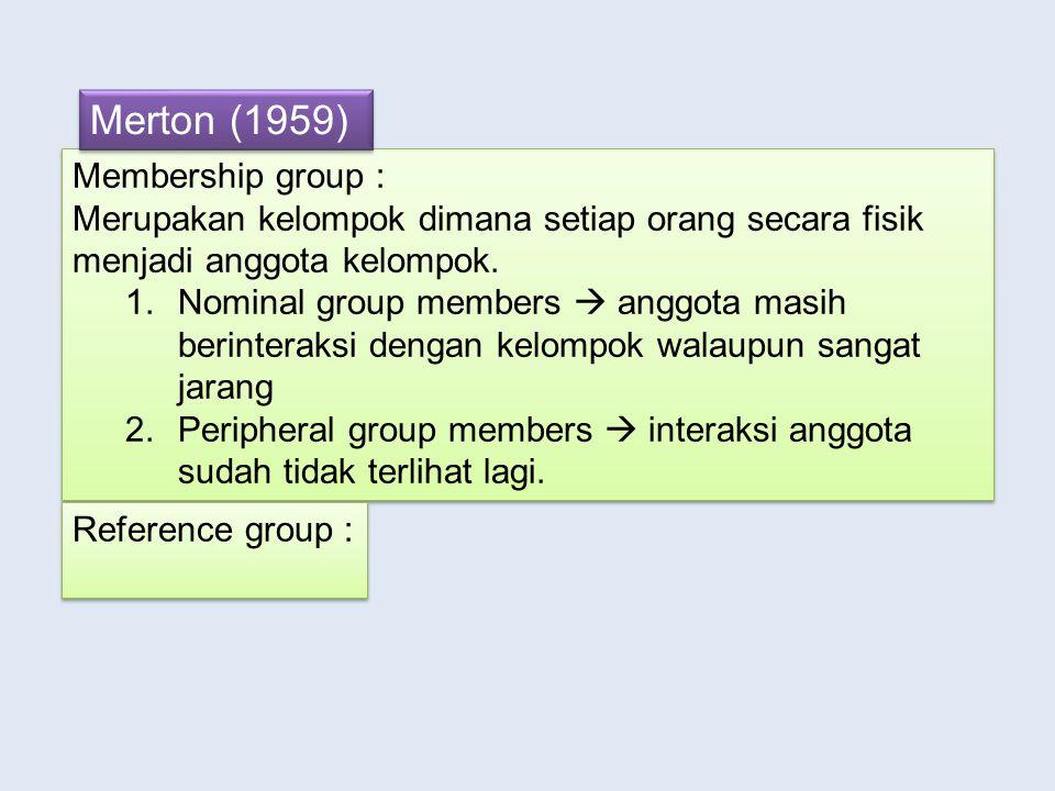 Membership group : Merupakan kelompok dimana setiap orang secara fisik menjadi anggota kelompok.