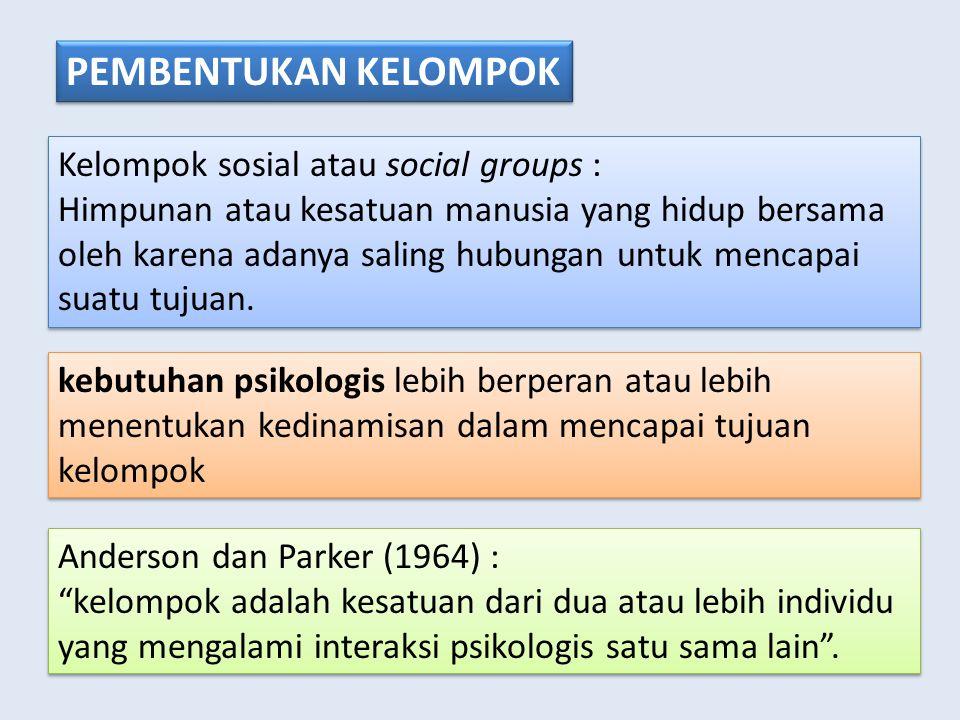 PEMBENTUKAN KELOMPOK Kelompok sosial atau social groups : Himpunan atau kesatuan manusia yang hidup bersama oleh karena adanya saling hubungan untuk mencapai suatu tujuan.