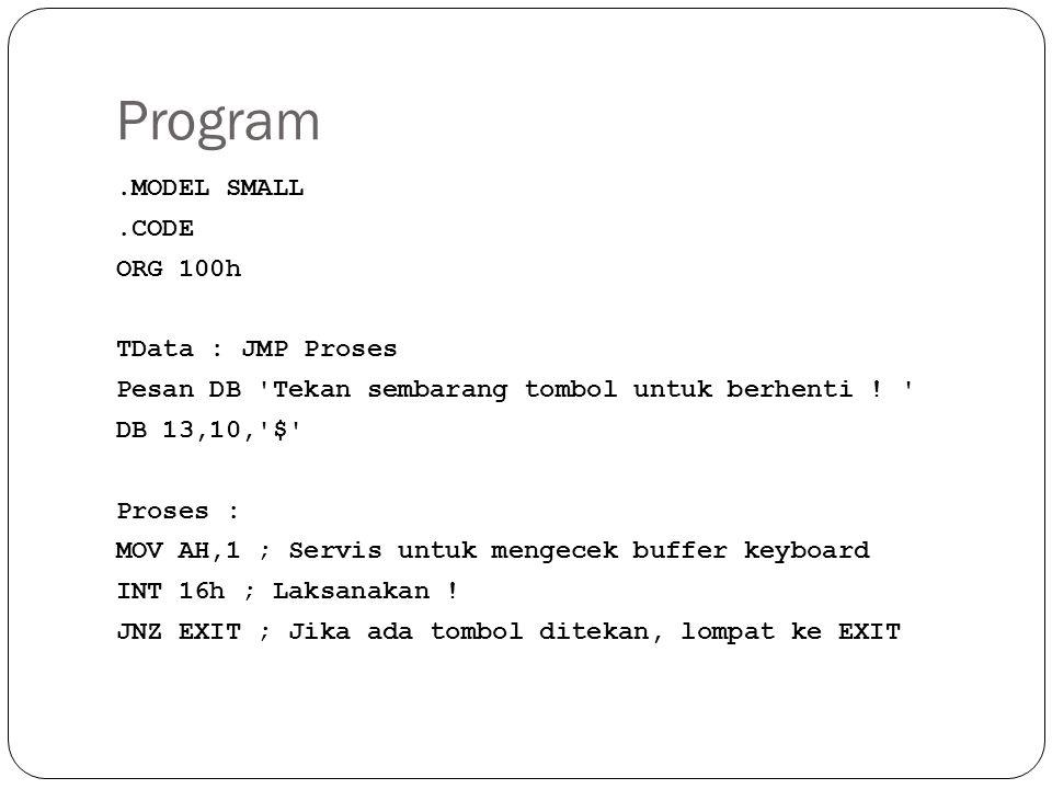 Program.MODEL SMALL.CODE ORG 100h TData : JMP Proses Pesan DB Tekan sembarang tombol untuk berhenti .