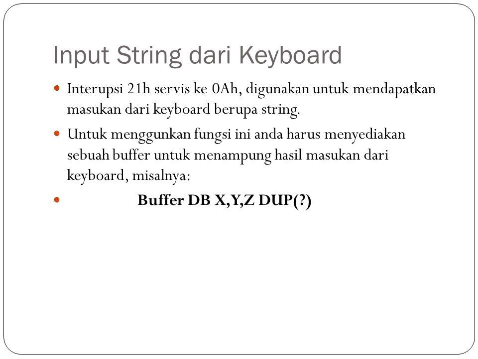 Program.MODEL SMALL.CODE ORG 100h TData : JMP Proses T_Enter EQU 0Dh Kal0 DB Ketikkan sebuah string: $ Kal1 DB 13,10,'String pada buffer : $ Buffer DB 23,?,23 DUP(?)