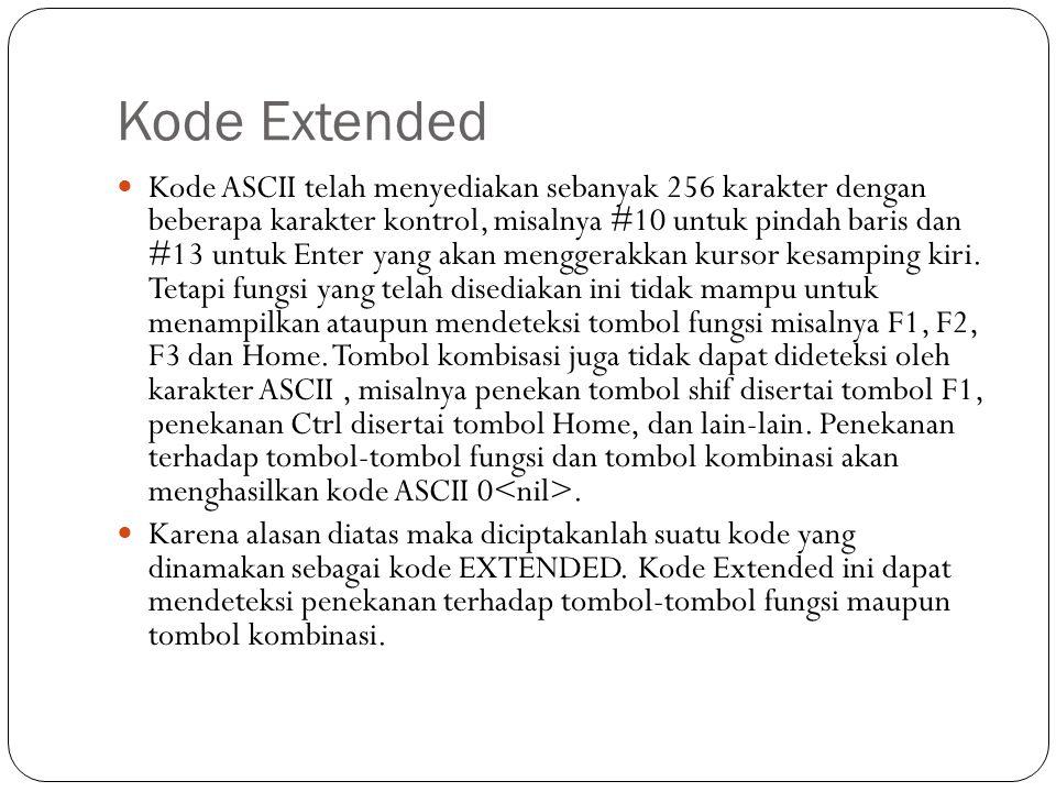 Kode Extended  Kode ASCII telah menyediakan sebanyak 256 karakter dengan beberapa karakter kontrol, misalnya #10 untuk pindah baris dan #13 untuk Enter yang akan menggerakkan kursor kesamping kiri.