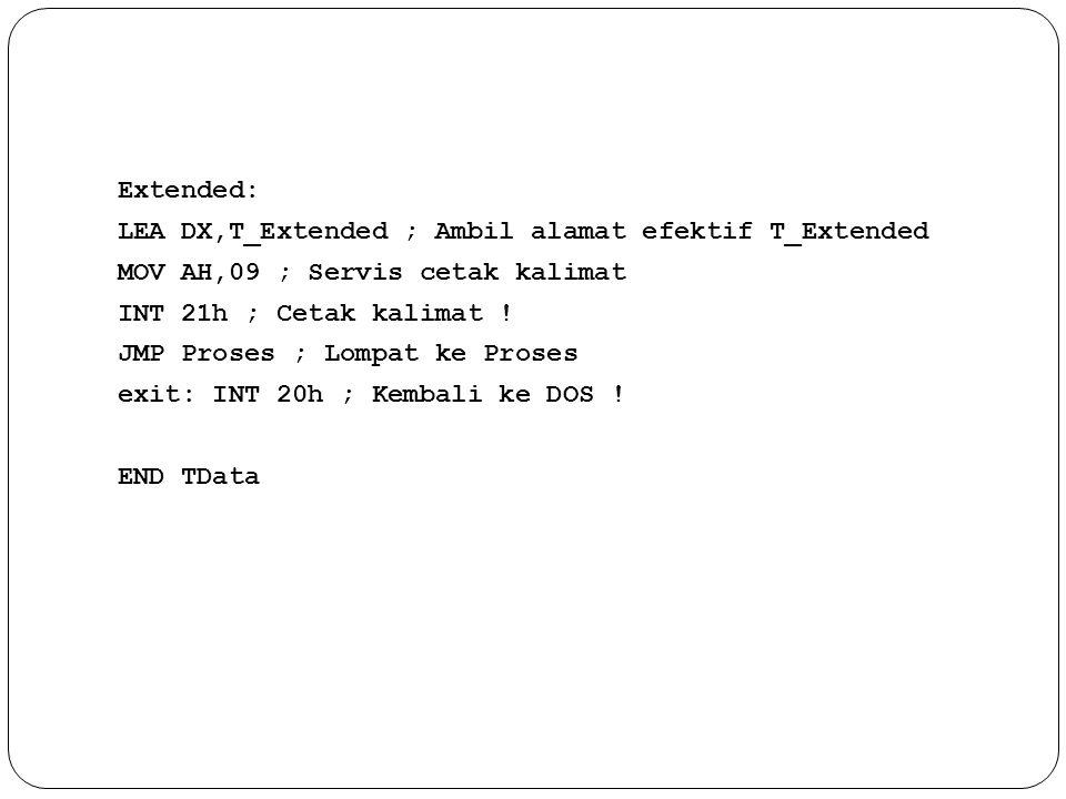 Extended: LEA DX,T_Extended ; Ambil alamat efektif T_Extended MOV AH,09 ; Servis cetak kalimat INT 21h ; Cetak kalimat .