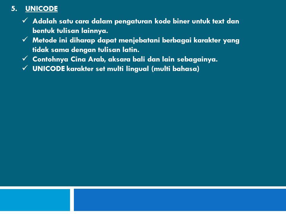 5.UNICODE  Adalah satu cara dalam pengaturan kode biner untuk text dan bentuk tulisan lainnya.