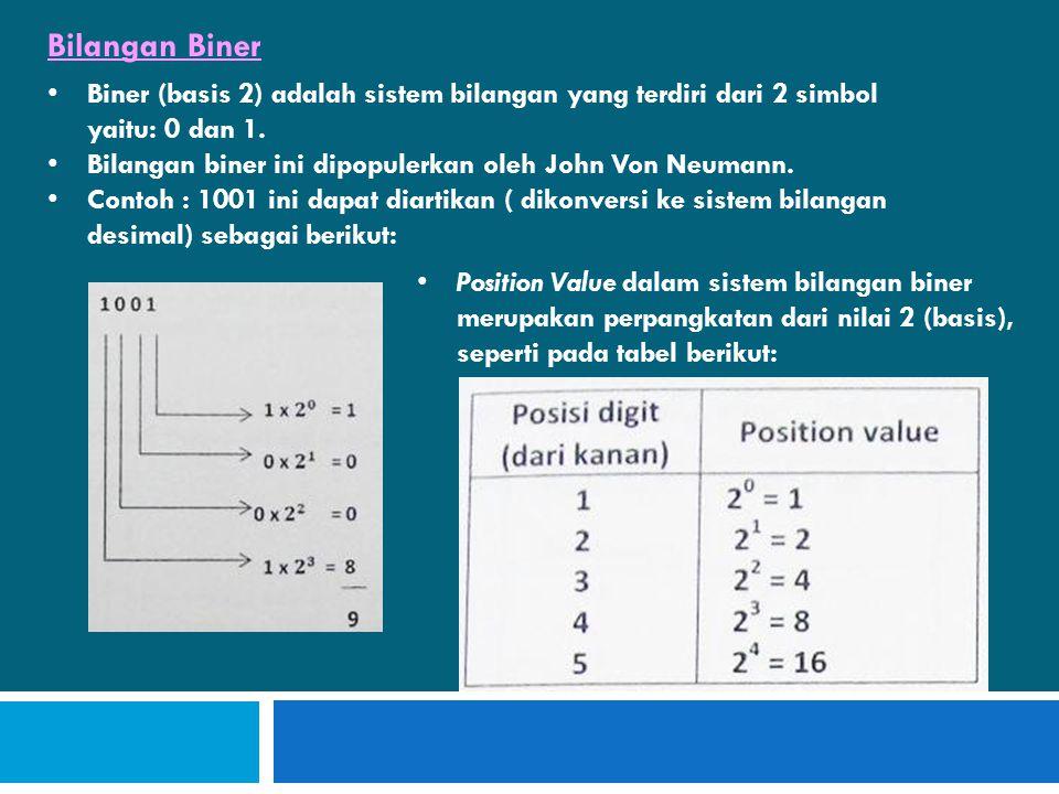 • Biner (basis 2) adalah sistem bilangan yang terdiri dari 2 simbol yaitu: 0 dan 1.