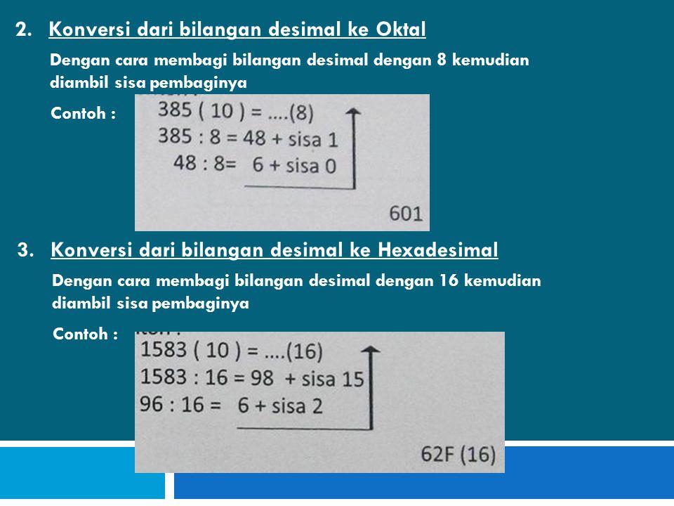 2.Konversi dari bilangan desimal ke Oktal Dengan cara membagi bilangan desimal dengan 8 kemudian diambil sisa pembaginya Contoh : 3.Konversi dari bilangan desimal ke Hexadesimal Dengan cara membagi bilangan desimal dengan 16 kemudian diambil sisa pembaginya Contoh :