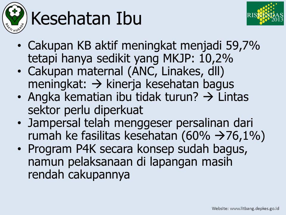 Website: www.litbang.depkes.go.id Kesehatan Ibu • Cakupan KB aktif meningkat menjadi 59,7% tetapi hanya sedikit yang MKJP: 10,2% • Cakupan maternal (A