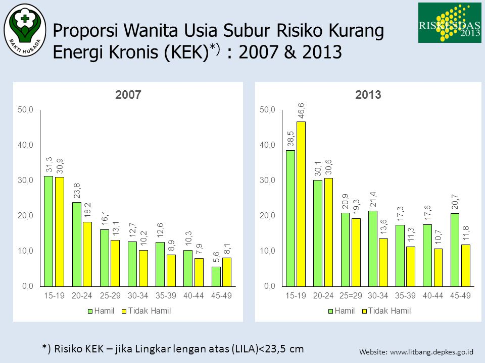 Website: www.litbang.depkes.go.id Proporsi Wanita Usia Subur Risiko Kurang Energi Kronis (KEK) *) : 2007 & 2013 *) Risiko KEK – jika Lingkar lengan at