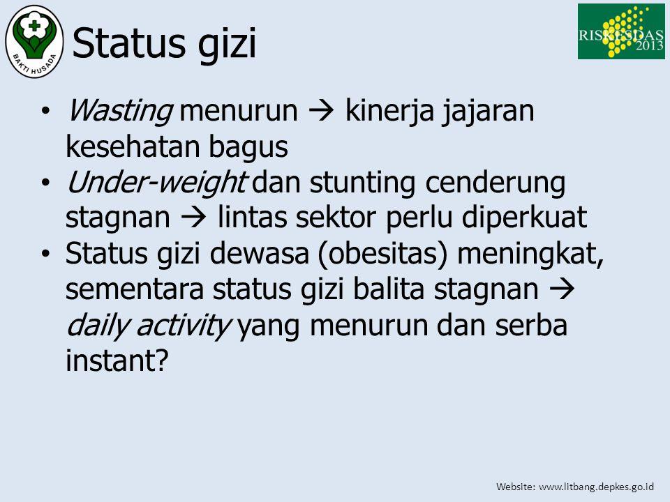 Website: www.litbang.depkes.go.id Status gizi • Wasting menurun  kinerja jajaran kesehatan bagus • Under-weight dan stunting cenderung stagnan  lint