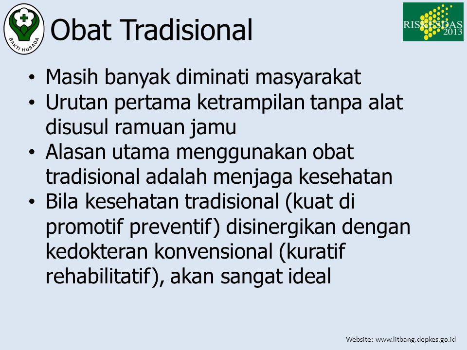 Website: www.litbang.depkes.go.id Obat Tradisional • Masih banyak diminati masyarakat • Urutan pertama ketrampilan tanpa alat disusul ramuan jamu • Al
