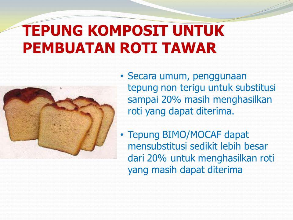 TEPUNG KOMPOSIT UNTUK PEMBUATAN ROTI TAWAR • Secara umum, penggunaan tepung non terigu untuk substitusi sampai 20% masih menghasilkan roti yang dapat