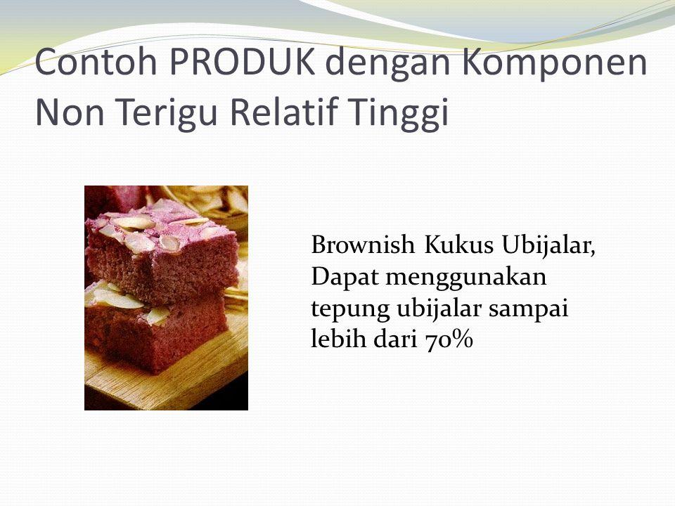Contoh PRODUK dengan Komponen Non Terigu Relatif Tinggi Brownish Kukus Ubijalar, Dapat menggunakan tepung ubijalar sampai lebih dari 70%