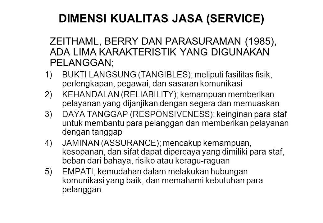 DIMENSI KUALITAS JASA (SERVICE) ZEITHAML, BERRY DAN PARASURAMAN (1985), ADA LIMA KARAKTERISTIK YANG DIGUNAKAN PELANGGAN; 1)BUKTI LANGSUNG (TANGIBLES);