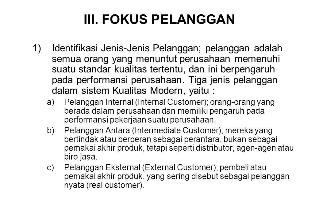 III. FOKUS PELANGGAN 1)Identifikasi Jenis-Jenis Pelanggan; pelanggan adalah semua orang yang menuntut perusahaan memenuhi suatu standar kualitas terte