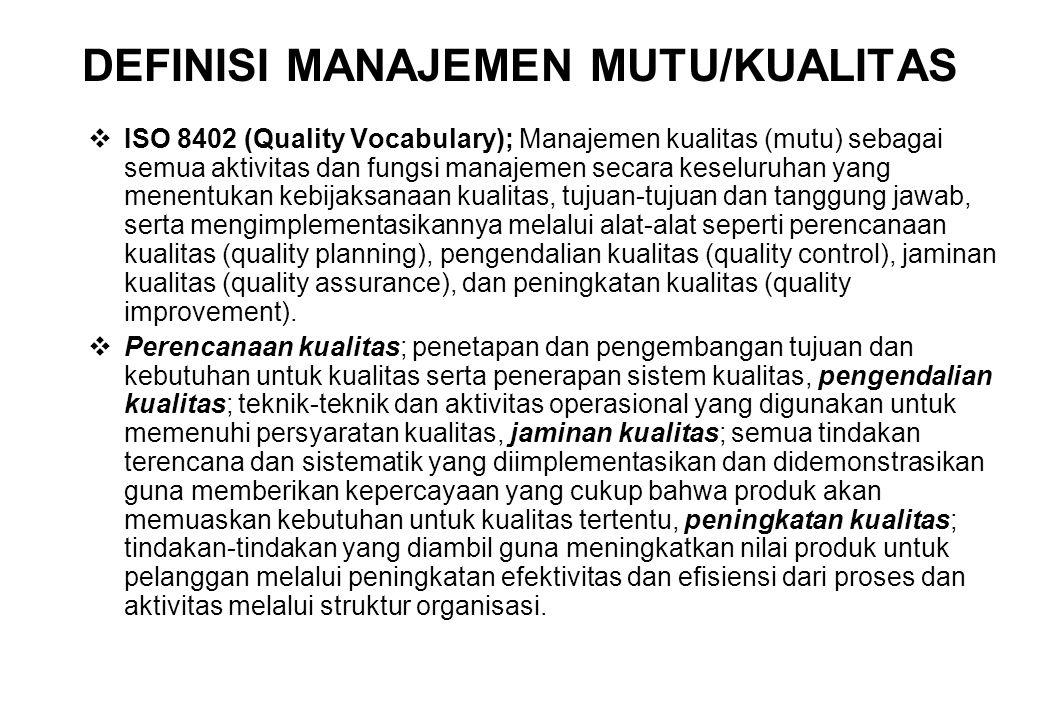  Quality Assurance (Jaminan Kualitas); konsep mutu mengalami perluasan, dari konsep yang sempit (hanya terbatas pada tahap produksi) ke tahap desain dan koordinasi dengan departemen jasa, juga mulai disadari keterlibatan manajemen penting dalam penanganan mutu produk.