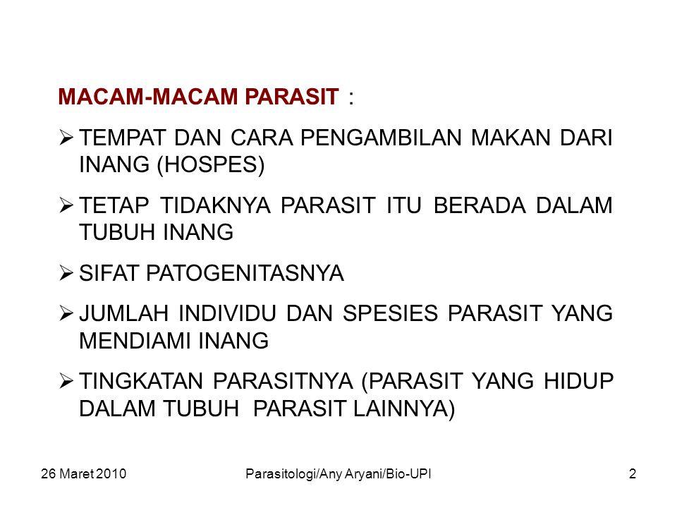 26 Maret 2010Parasitologi/Any Aryani/Bio-UPI2 MACAM-MACAM PARASIT :  TEMPAT DAN CARA PENGAMBILAN MAKAN DARI INANG (HOSPES)  TETAP TIDAKNYA PARASIT I