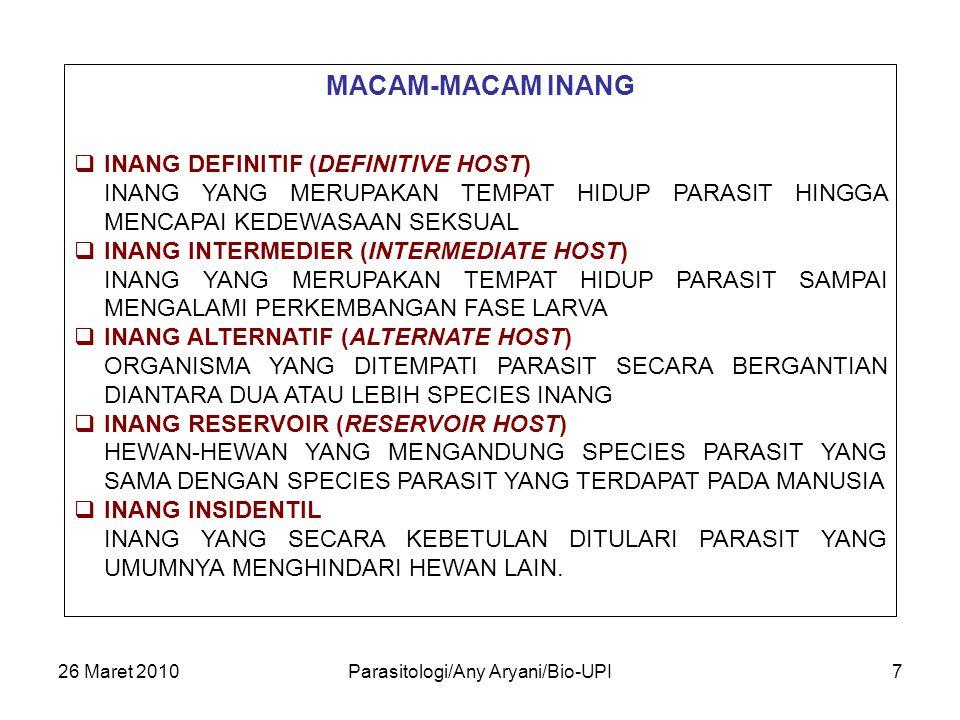 26 Maret 2010Parasitologi/Any Aryani/Bio-UPI7 MACAM-MACAM INANG  INANG DEFINITIF (DEFINITIVE HOST) INANG YANG MERUPAKAN TEMPAT HIDUP PARASIT HINGGA M