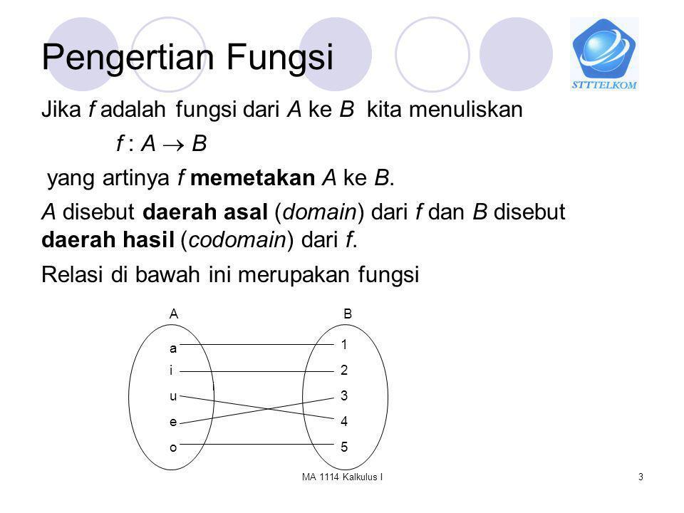 MA 1114 Kalkulus I4 Pengertian Fungsi Relasi di bawah ini bukan merupakan fungsi : a i u e o 1 2 3 4 5 AB Himpunan yang berisi semua nilai pemetaan f disebut jelajah (range) / jangkauan dari f.