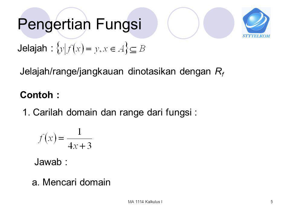MA 1114 Kalkulus I6 Pengertian Fungsi syarat agar fungsi tersebut terdefinisi adalah : Sehingga atau b.
