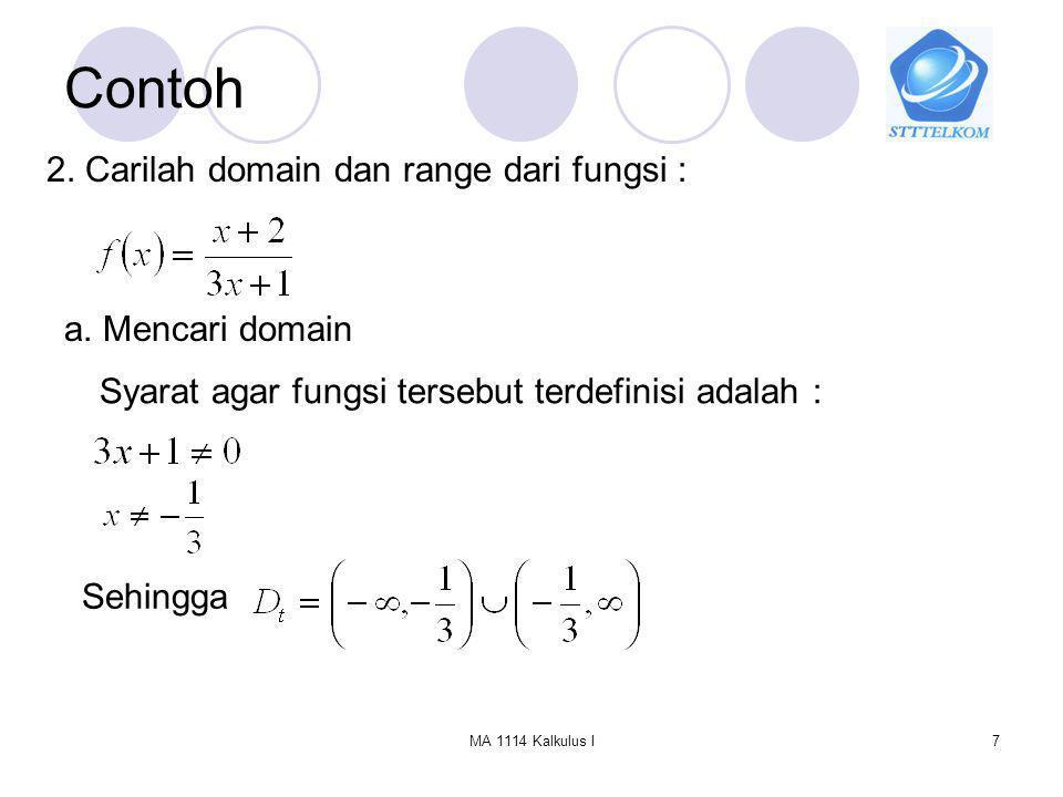 MA 1114 Kalkulus I18 Fungsi Komposisi Dengan cara yang sama, Syarat agar dua fungsi bisa dikomposisikan, terpenuhi maka harus Domain dari komposisi fungsi f dan g didefinisikan sbb : Sedangkan definisi dari Range komposisi fungsi komposisi atau