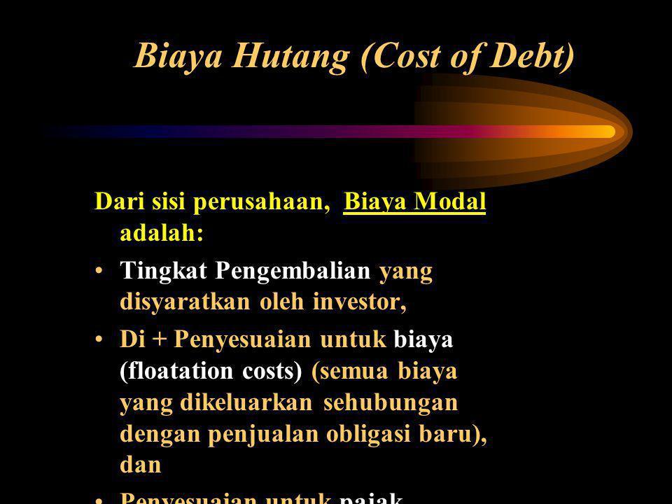 Biaya Hutang (Cost of Debt) Dari sisi perusahaan, Biaya Modal adalah: •Tingkat Pengembalian yang disyaratkan oleh investor, •Di + Penyesuaian untuk biaya (floatation costs) (semua biaya yang dikeluarkan sehubungan dengan penjualan obligasi baru), dan •Penyesuaian untuk pajak.