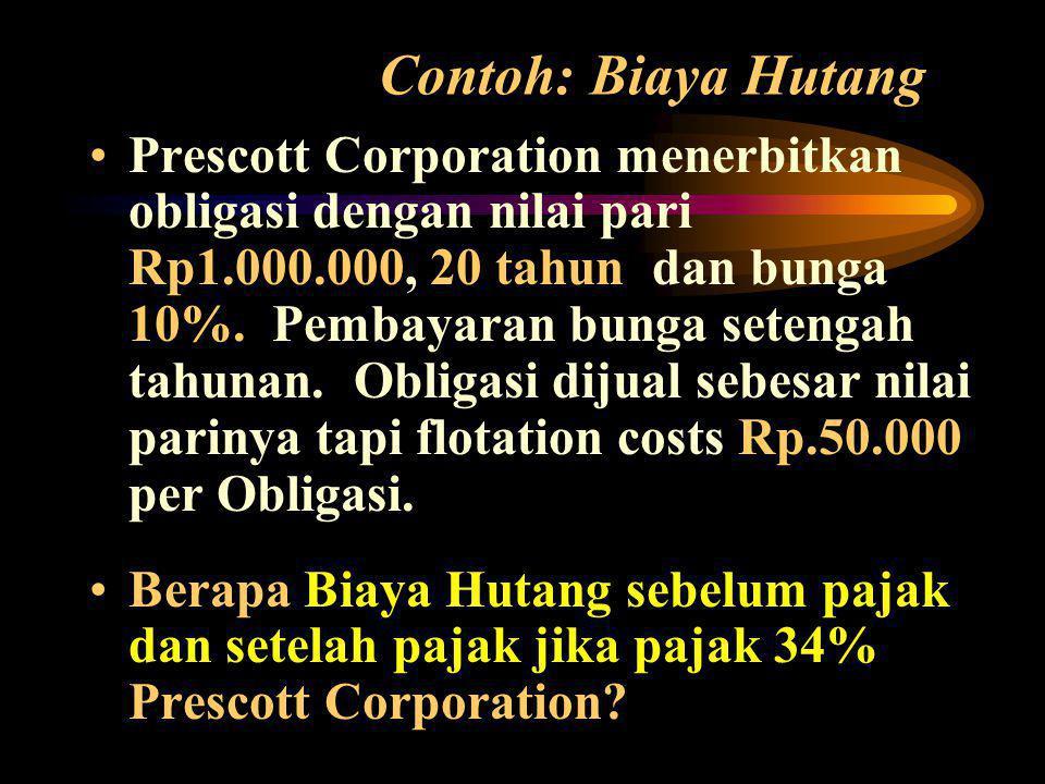 Contoh: Biaya Hutang •Prescott Corporation menerbitkan obligasi dengan nilai pari Rp1.000.000, 20 tahun dan bunga 10%.