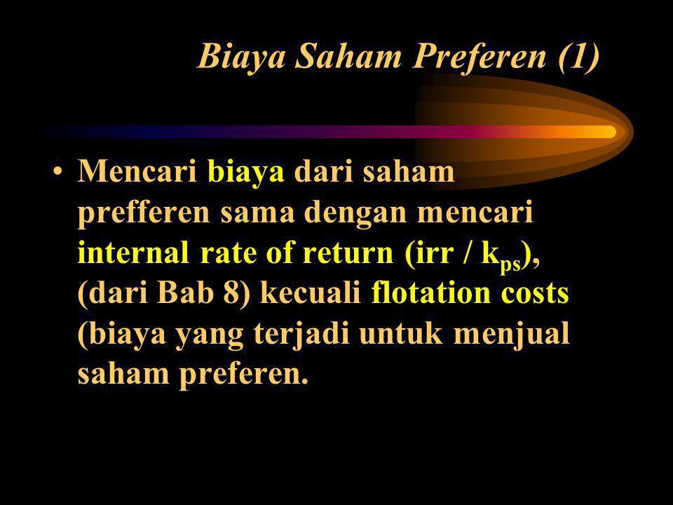 Biaya Saham Preferen (1) •Mencari biaya dari saham prefferen sama dengan mencari internal rate of return (irr / k ps ), (dari Bab 8) kecuali flotation costs (biaya yang terjadi untuk menjual saham preferen.