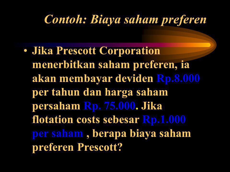 Contoh: Biaya saham preferen •Jika Prescott Corporation menerbitkan saham preferen, ia akan membayar deviden Rp.8.000 per tahun dan harga saham persaham Rp.