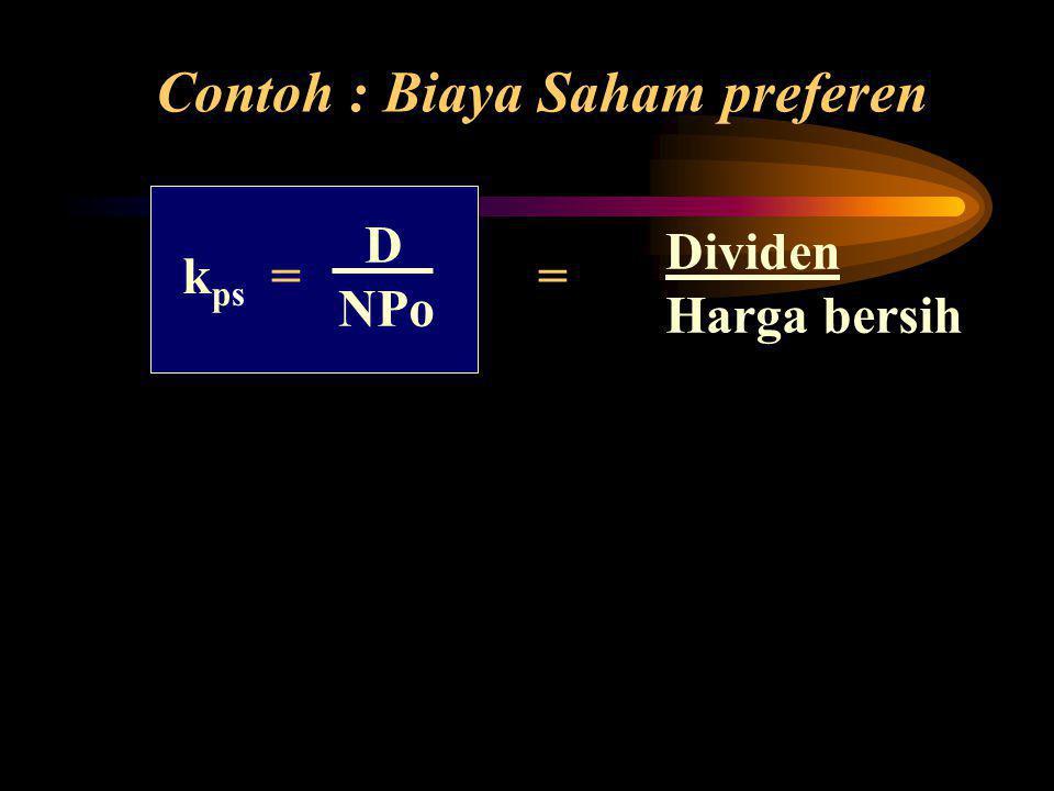 Contoh : Biaya Saham preferen k ps = = Dividen Harga bersih D NPo