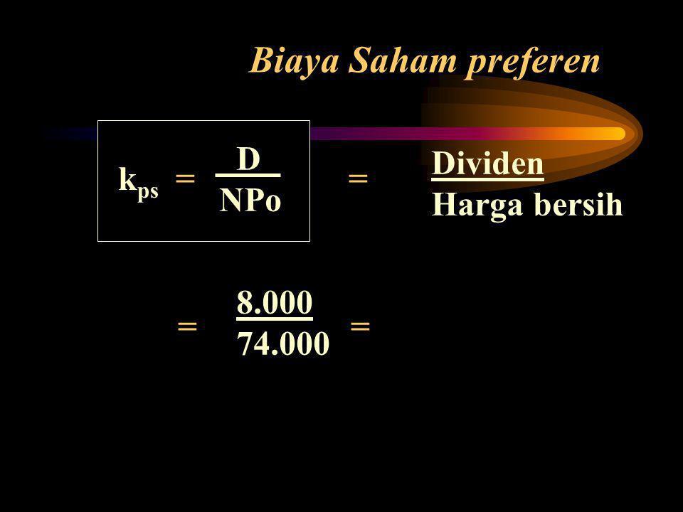 Biaya Saham preferen k ps = = = = Dividen Harga bersih D NPo 8.000 74.000