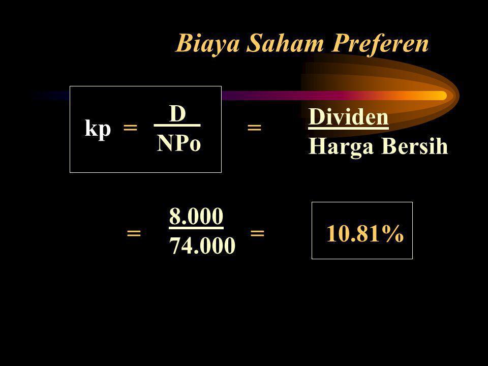 Biaya Saham Preferen kp = = = = 10.81% Dividen Harga Bersih D NPo 8.000 74.000