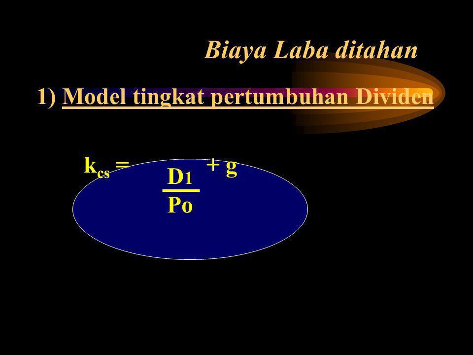 Biaya Laba ditahan 1) Model tingkat pertumbuhan Dividen k cs = + g D 1 Po