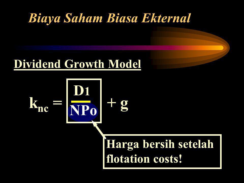 Dividend Growth Model k nc = + g Biaya Saham Biasa Ekternal D 1 NPo Harga bersih setelah flotation costs!