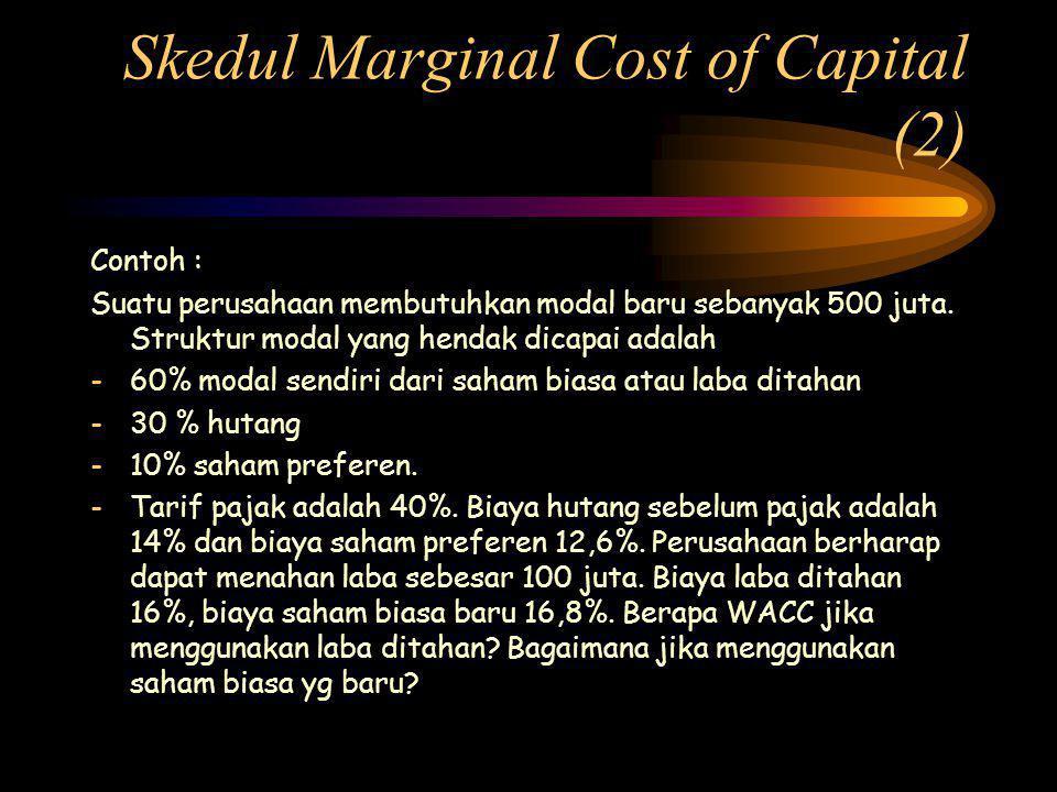 Skedul Marginal Cost of Capital (2) Contoh : Suatu perusahaan membutuhkan modal baru sebanyak 500 juta.
